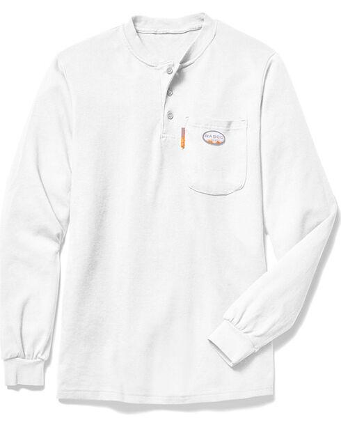 Rasco Men's White FR Henley T-Shirt , White, hi-res