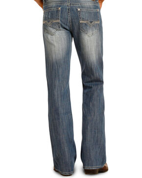 Rock & Roll Cowboy Men's Double Barrel Boot Cut Jeans, Blue, hi-res