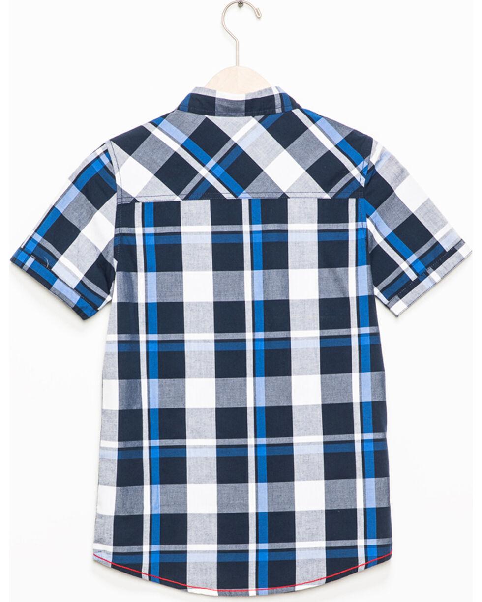 Silver Toddler Boys' Navy Plaid Short Sleeve Button Down Shirt, Navy, hi-res