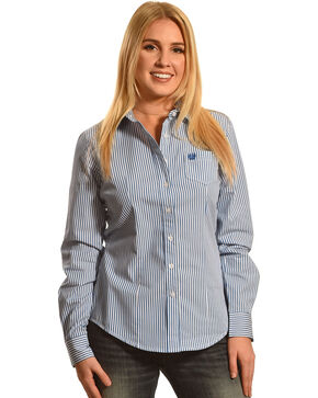 Cinch Women's Striped Long Sleeve Shirt, Royal, hi-res