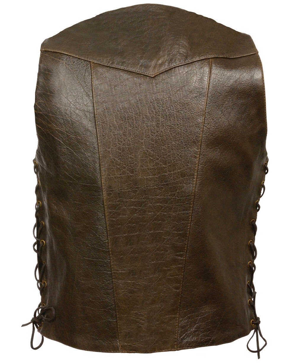 Milwaukee Leather Men's Retro Brown 10 Pocket Side Lace Vest - Big, Brown, hi-res