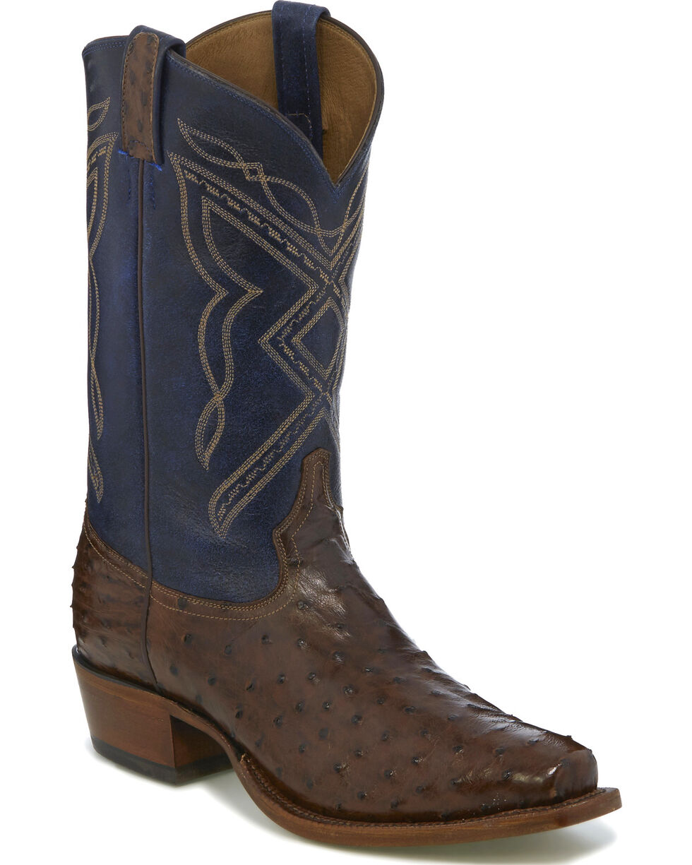 "Tony Lama Men's Dark Brown/Blue 12"" Full Quill Ostrich Cowboy Boots - Narrow Square Toe, Dark Brown, hi-res"