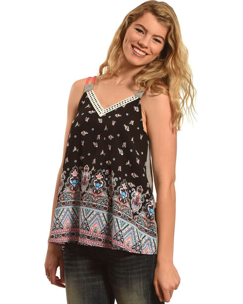 Derek Heart Women's Black Border Print Tank , Black, hi-res