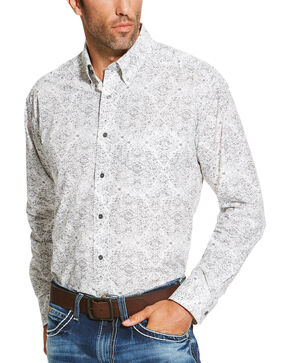 Ariat Men's Grey Firman Print Shirt - Big and Tall, Grey, hi-res