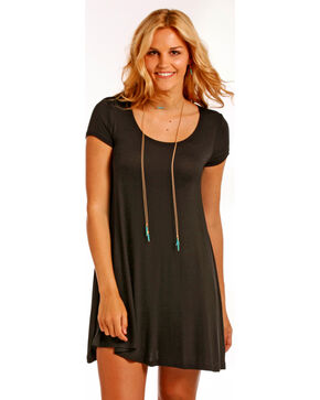 Panhandle Women's Flared Hem Cap Sleeve Dress, Black, hi-res