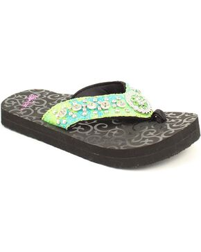 Blazin Roxx Girls' Turquoise & Lime Sequin Studded Flip Flops, Lime, hi-res