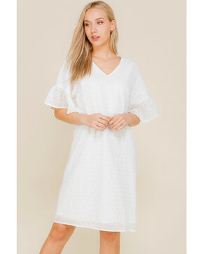 Polagram Women's White Eyelet Lace Dress , White, hi-res