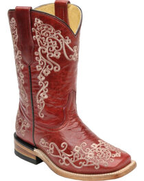 Corral Girls' Floral Square Toe Western Boots, , hi-res