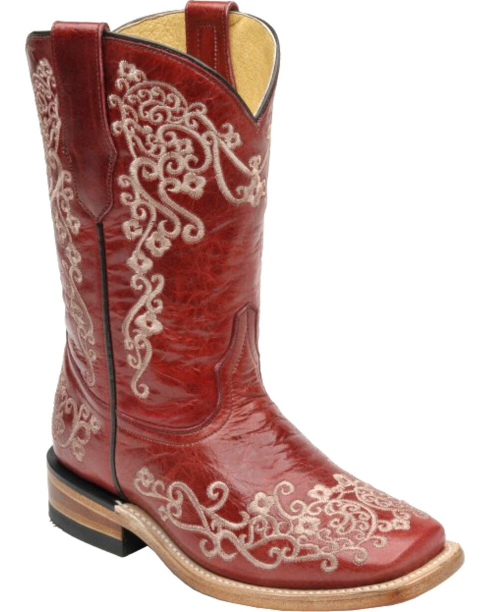 Corral Girls' Floral Square Toe Western Boots, Red, hi-res