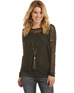 Rock & Roll Cowgirl Women's Black Drop Shoulder Lace Top , Black, hi-res
