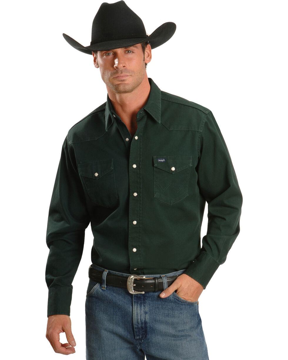 Wrangler Men's Cowboy Cut Firm Finish Long Sleeve Work Shirt, Forest Green, hi-res