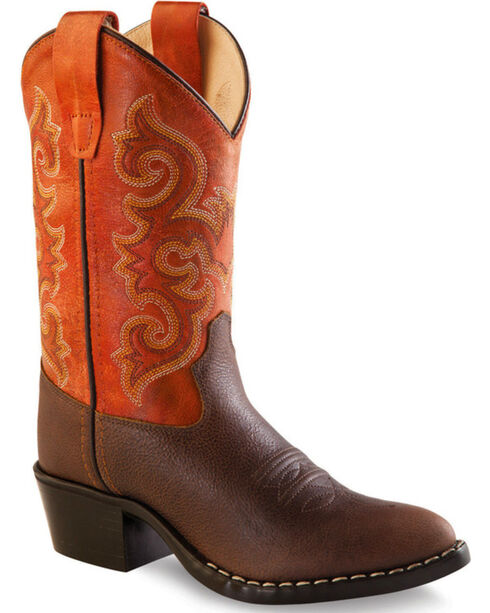 Old West Boys' Orange Cowboy Boots - Round Toe, Brown, hi-res