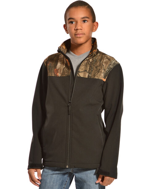 Red Ranch Boys' Bonded Jacket with Camo Yoke, Black, hi-res