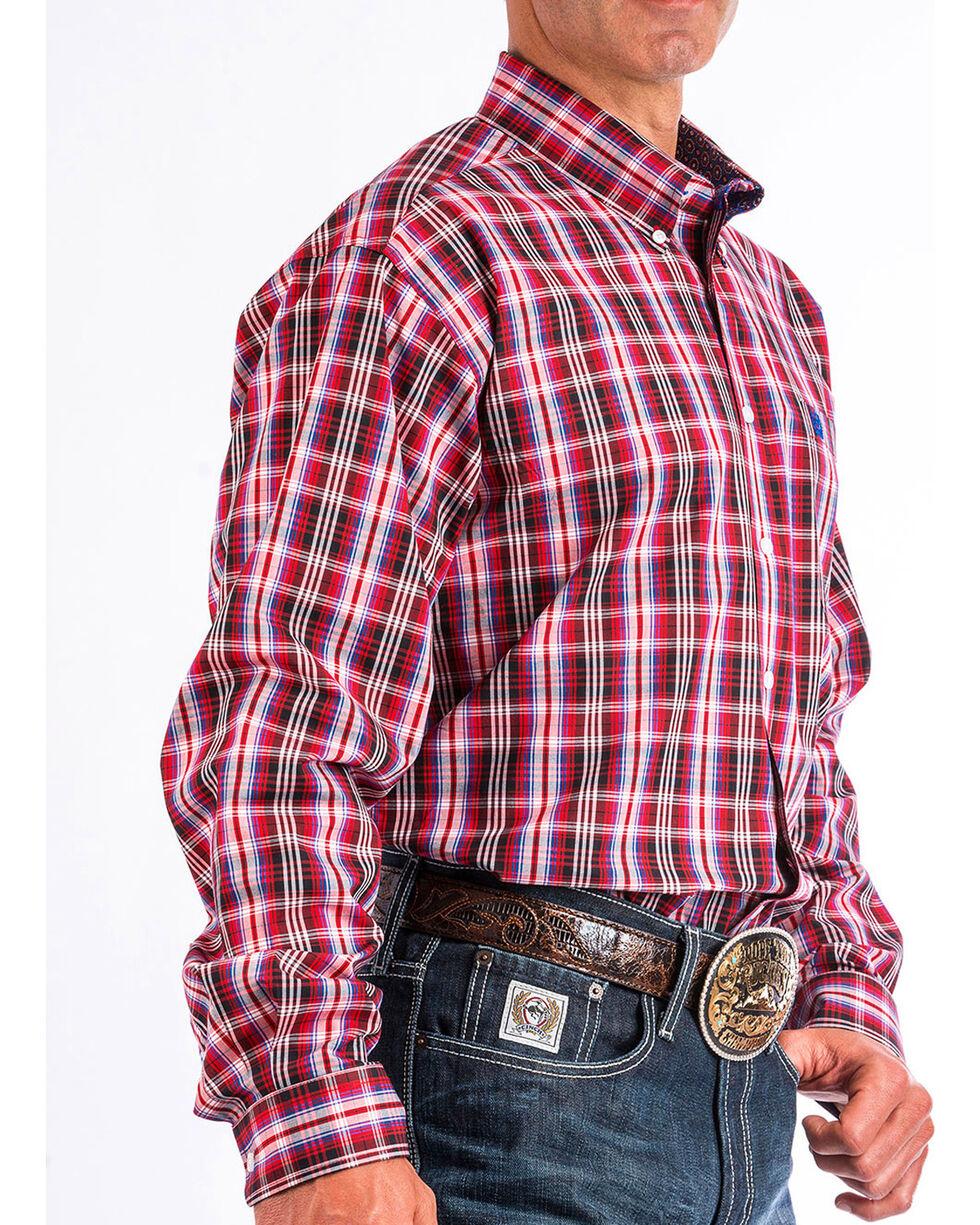 Cinch Men's Red Plaid Long Sleeve Button Down Shirt, , hi-res