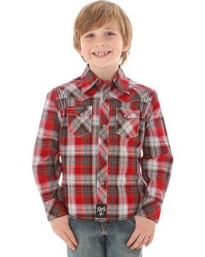 Rock 47 by Wrangler Boys' Plaid Western Long Sleeve Shirt, Red, hi-res
