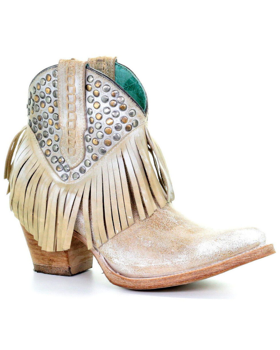 Corral Women's Studs & Fringe Ankle Boots - Snip Toe, White, hi-res