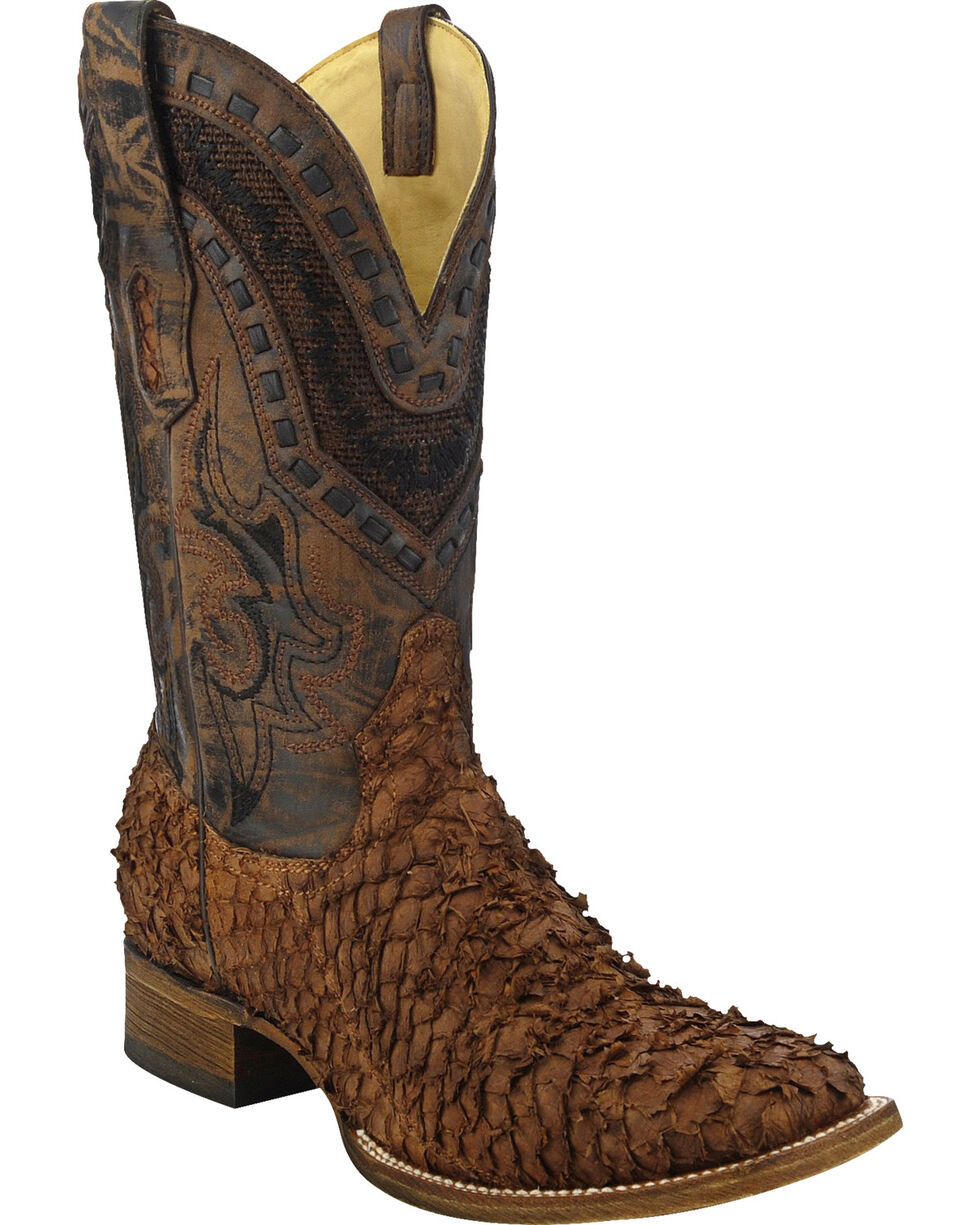 Corral Men's Sea Bass Square Toe Exotic Boots, Brown, hi-res
