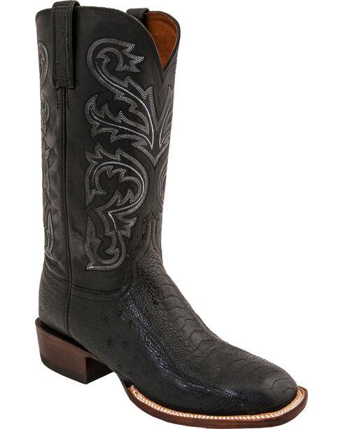 Lucchese Men's Ostrich Horseman Exotic Boots, Black, hi-res