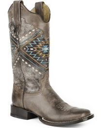 Roper Women's Native Western Boots - Square Toe , , hi-res