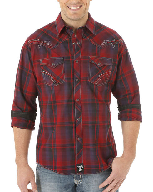 Wrangler Men's Plaid Long Sleeve Shirt  , Red, hi-res