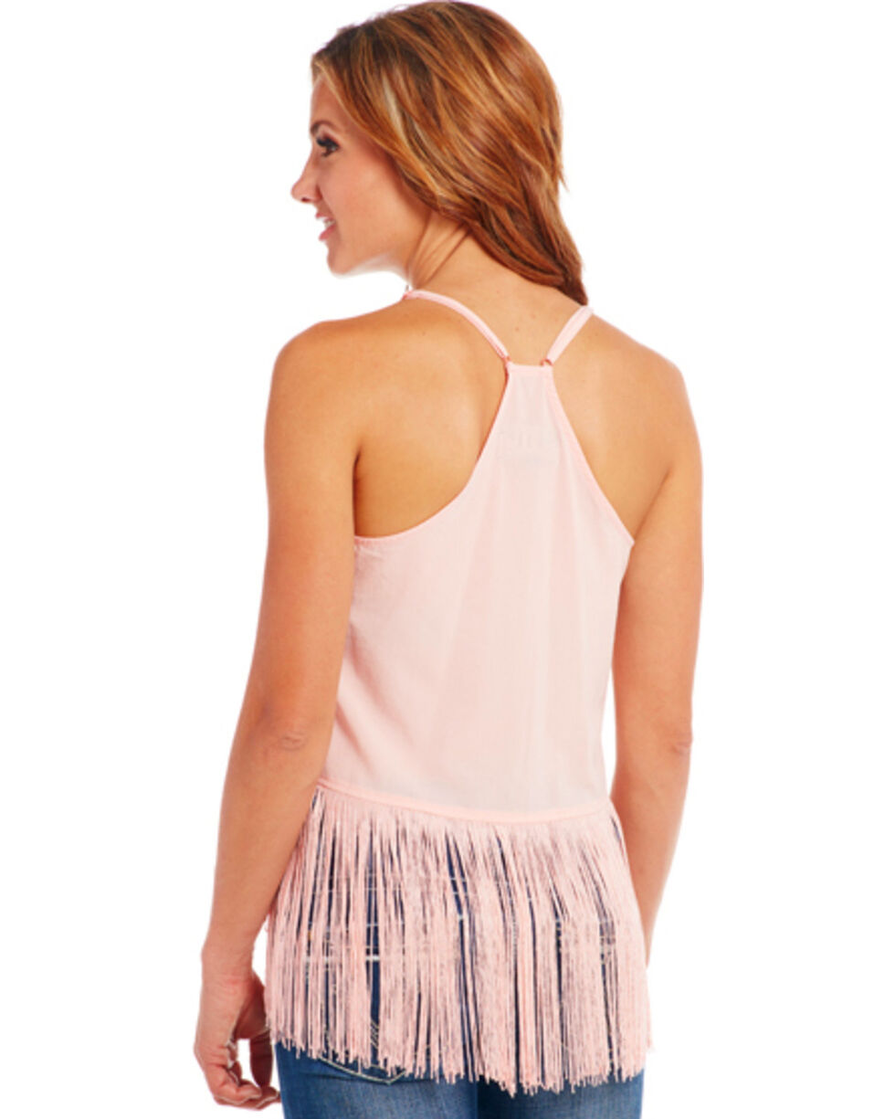 Cowgirl Up Embroidered Fringe Tank Top, Peach, hi-res