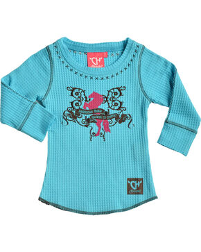 "Cowgirl Hardware Toddler Girls' Turquoise ""American Born"" Waffle Shirt , Turquoise, hi-res"