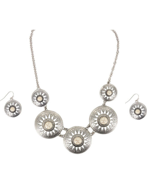 Shyanne® Women's Concho Jewelry Set, Cream, hi-res