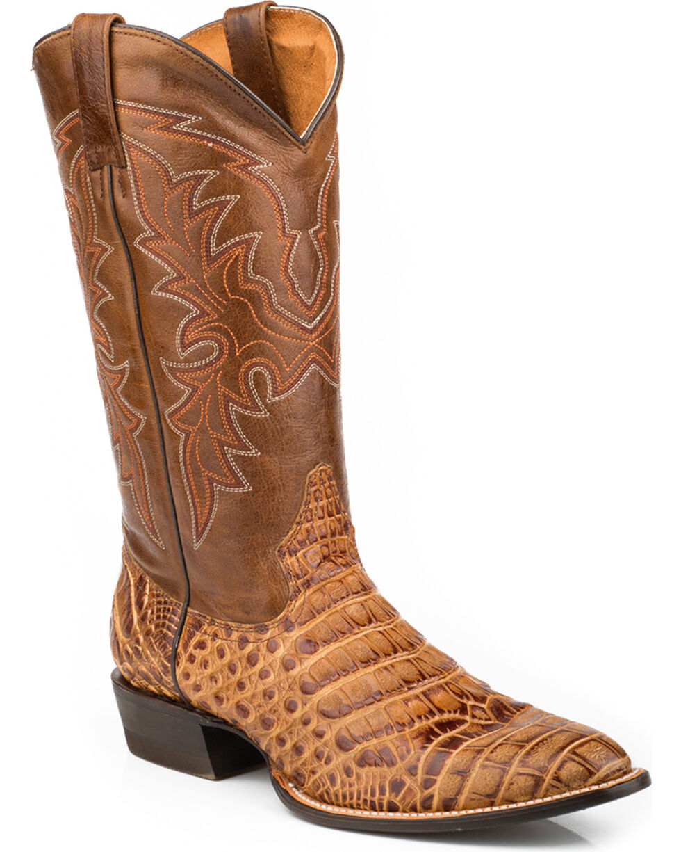 Roper Men's Faux Caiman & Mad Dog Cowboy Boots - Medium Toe, Tan, hi-res