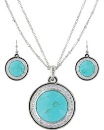 Montana Silversmiths Women's Classic Turquoise Medallion Jewelry Set , , hi-res
