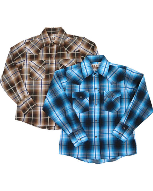 Ely Cattleman Boys' Assorted Textured Plaid Long Sleeve Western Shirt, Multi, hi-res