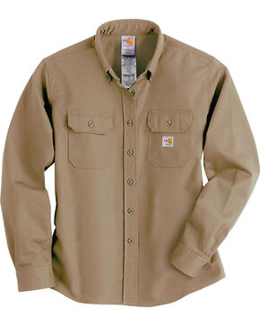 Carhartt Women's Flame-Resistant Twill Work Shirt, Khaki, hi-res
