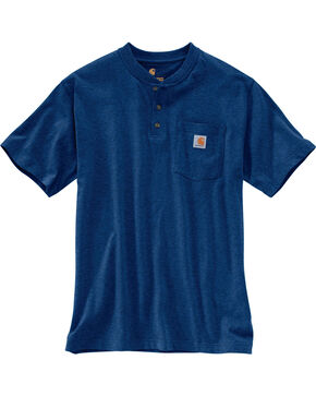 Carhartt Short Sleeve Henley Work Shirt - Big & Tall, Dark Blue, hi-res