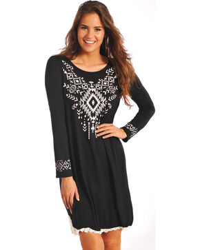Rock & Roll Cowgirl Women's Black Western Chic Dress , Black, hi-res