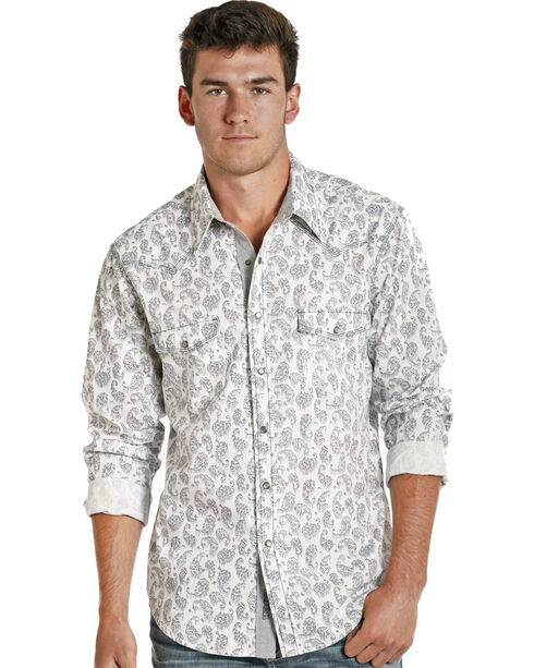 Rock & Roll Cowboy Men's White/Grey Stone Wash Paisley Long Sleeve Shirt, White, hi-res