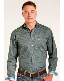 Rough Stock by Panhandle Men's Magadini Vintage Print Long Sleeve Snap Shirt, , hi-res
