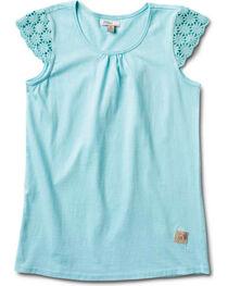 Silver Girls' Crochet Cap Sleeve Top, , hi-res