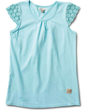 Silver Girls' Crochet Cap Sleeve Top, Aqua, hi-res