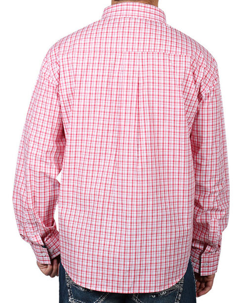 Cody James® Men's Check Patterned Long Sleeve Shirt, Peach, hi-res