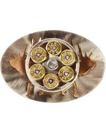 American Heritage Stainless Buckles Double Elk Belt Buckles, Silver, hi-res