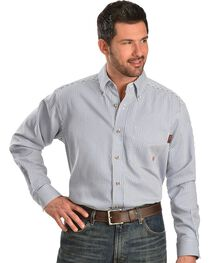 Ariat Flame Resistant Blue & White Striped Work Shirt, , hi-res