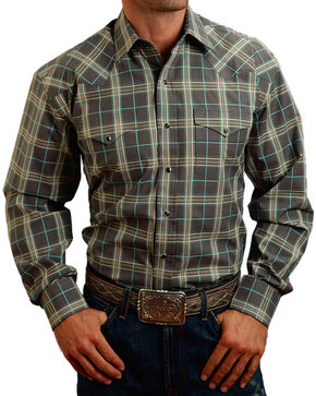 Stetson Men's Plaid Patterned Long Sleeve Shirt, Cream, hi-res