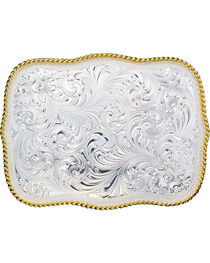 Montana Silversmiths Large Rectangular Engraved Buckle, , hi-res