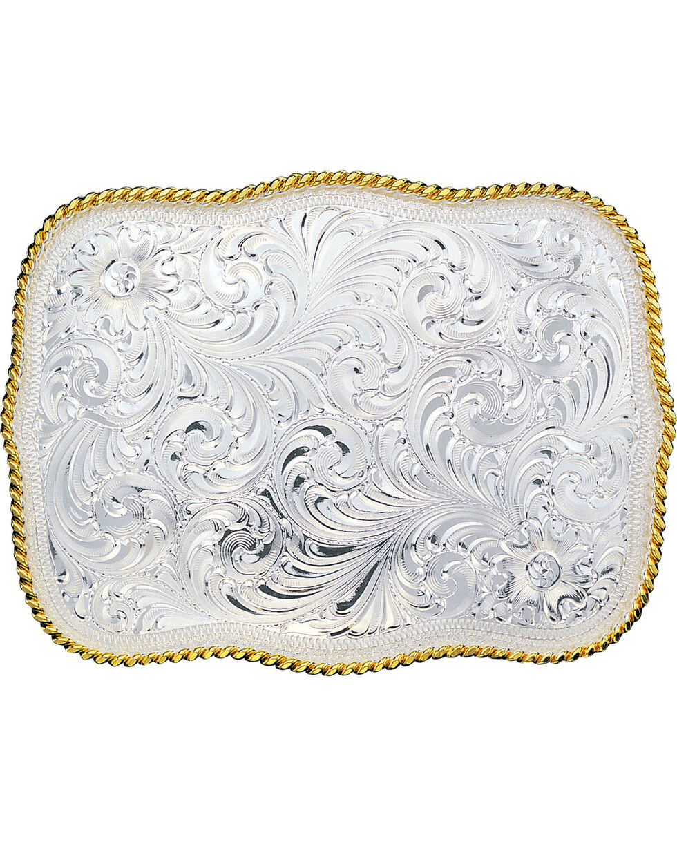 Montana Silversmiths Large Rectangular Engraved Buckle, Multi, hi-res