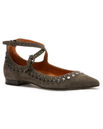 Frye Women's Grey Sienna Stud Criss Cross Ballet Flats - Pointed Toe, , hi-res