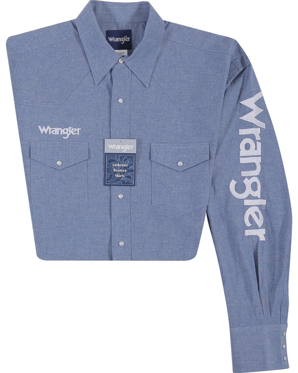Wrangler Men's Indigo Western Logo Shirt, Indigo, hi-res