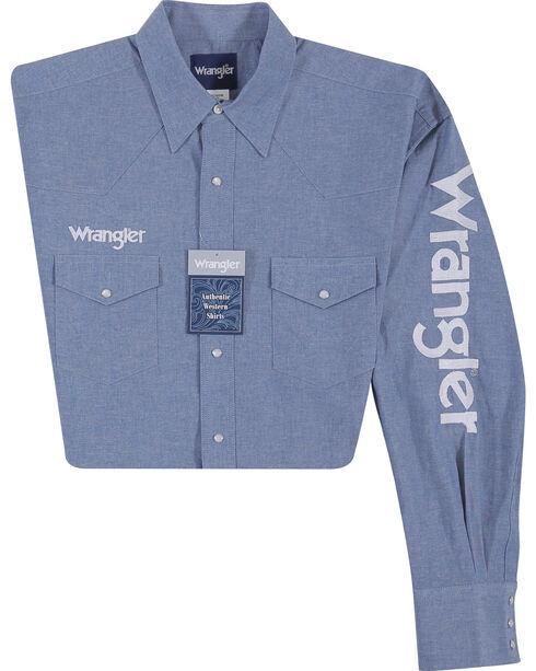 Wrangler Men's Indigo Western Logo Shirt - Tall , Indigo, hi-res