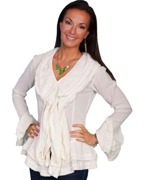 Scully Ruffle Front Long Sleeve Top, Natural, hi-res