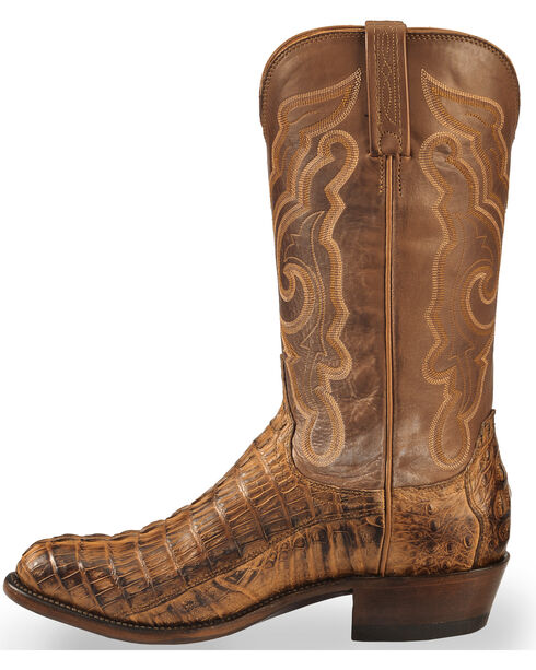 Lucchese Men's Tan Franklin Hornback Caiman Tail Boots - Round Toe , Tan, hi-res