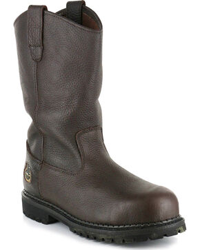 Georgia Men's Steel Toe Pull On Work Boots, Brown, hi-res