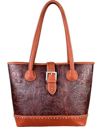 Montana West Trinity Ranch Tooled Design Concealed Handgun Collection Handbag, , hi-res